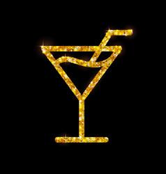 Golden cocktail flat icon cosmopolitan vector