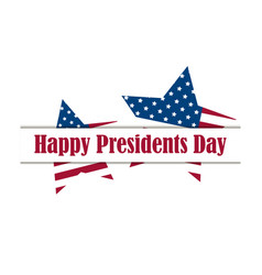 happy presidents day five-pointed star with flag vector image