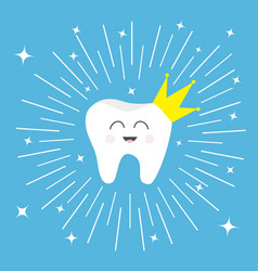 Healthy tooth crown icon smiling face king queen vector