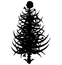 Horror christmas tree silhouette vector