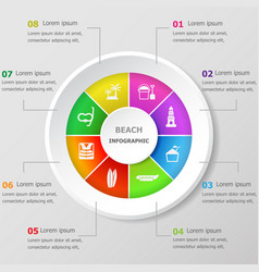 Infographic design template with beach icons vector