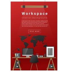 Interior design modern workspace banner 5 vector