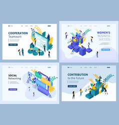 Isometric set landing page vector
