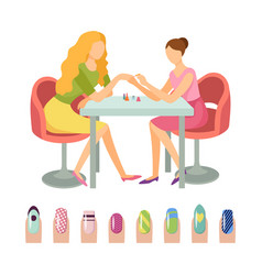 manicure manicurist and client icons set vector image