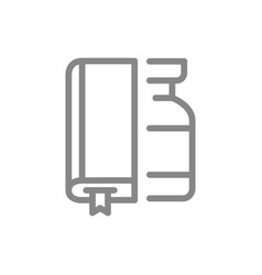 Medical ampoule and book line icon vaccination vector