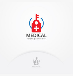 medical key logo vector image