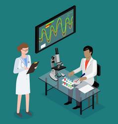 Medical research doctors in laboratory vector