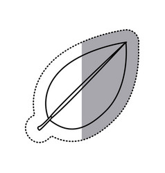 Monochrome contour sticker of leaf with branch vector