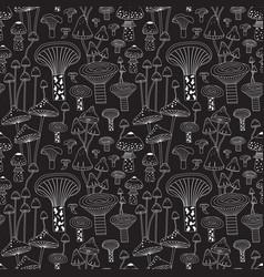 Monochrome line forest mushrooms seamless pattern vector