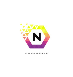 n colorful hexagon shaped letter logo design vector image