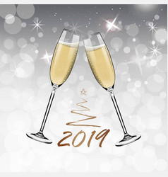 new year glasses of champagnerealistic style vector image
