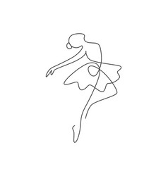 one single line drawing sexy woman ballerina vector image