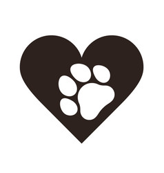 Pet paw print in heart vector