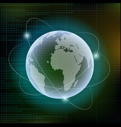 planet earth digital technology background vector image