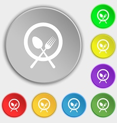 Plate with cutlery icon sign symbol on eight flat vector