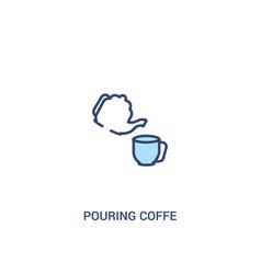 Pouring coffe concept 2 colored icon simple line vector