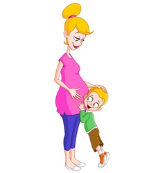 Pregnant mom and son vector