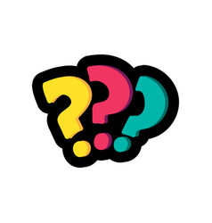 question marks flat color vector image