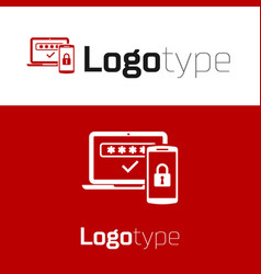 Red multi factor two steps authentication icon vector