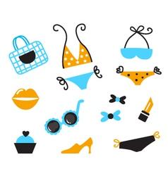 Retro bikini icons vector