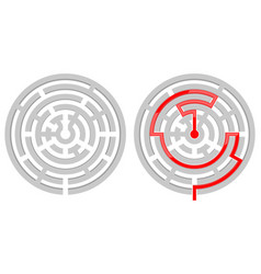 round maze with solution with and without red vector image