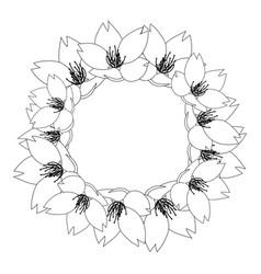 sakura cherry blossom outline wreath vector image