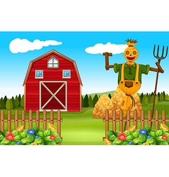 Scarecrow in the farmyard vector image