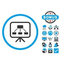 Scheme Screen Flat Icon with Bonus vector image