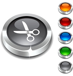 scissors 3d button vector image