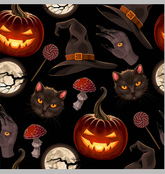 Seamless pattern for halloween with pumpkin vector