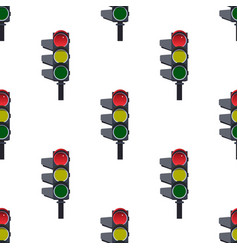 seamless pattern of red traffic lights on white vector image