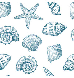 Seashells seamless pattern sea shell summer ocean vector