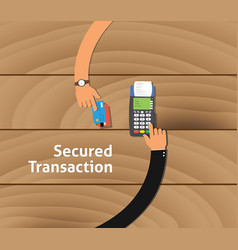 Secured transaction with two business man hand vector