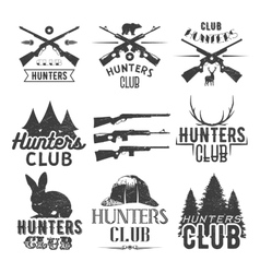 set hunting club labels in vintage style vector image