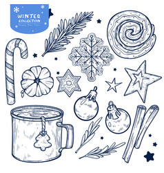 set new years and winters elements isolated on vector image