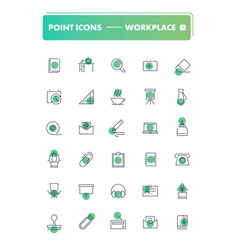 set of 30 line icons workplace and stationery vector image