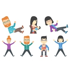 Set of families and business characters vector