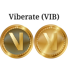 Set of physical golden coin viberate vib vector