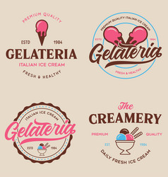 Set of vintage ice cream shop logo badges vector