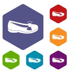 shoe icons set hexagon vector image