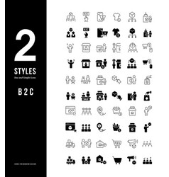 simple line icons b2c vector image