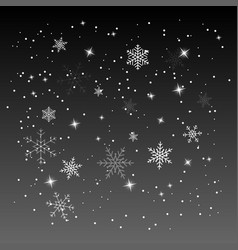 snow with snowflakes and stars on night sky vector image