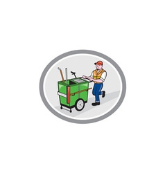 Street Cleaner Pushing Trolley Oval Cartoon vector image