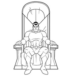 superhero on throne line art vector image