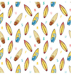 surf boards seamless pattern hand drawn sketch vector image