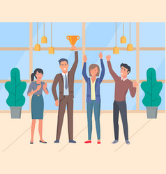 teamwork men and women holding gold trophy cup vector image