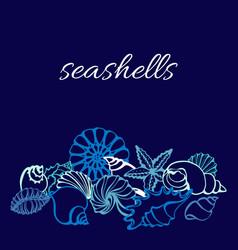 Template seashells line 2 vector