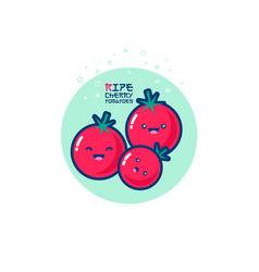 Tomatoes kawaii japanese emoticons vector