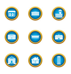 Town planning icons set flat style vector