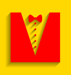 tuxedo with bow silhouette red icon with vector image
